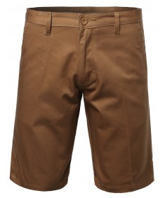 Men's Basic Solid 100% Cotton Twill Chino Shorts