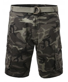 Men's Basic Solid Detachable Dring Belted Light Weight Camo Cargo Shorts