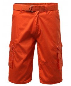 Men's Basic Solid Detachable Dring Belted Cargo Shorts