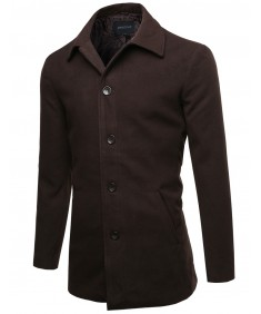 Men's Solid Modernized Classic Warm Overcoat