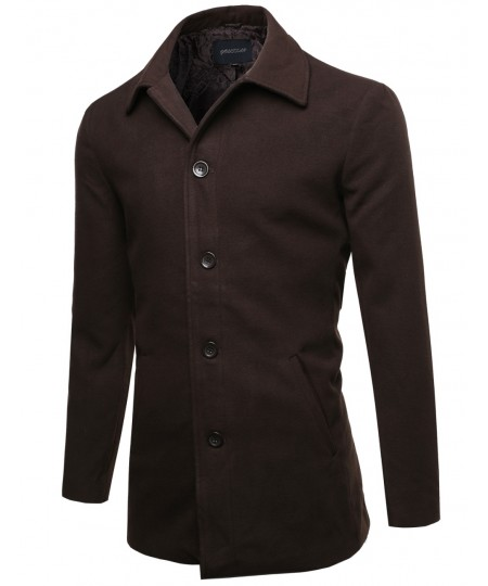 Men's Classic Modernized Long Sleeves Button Closure Coat