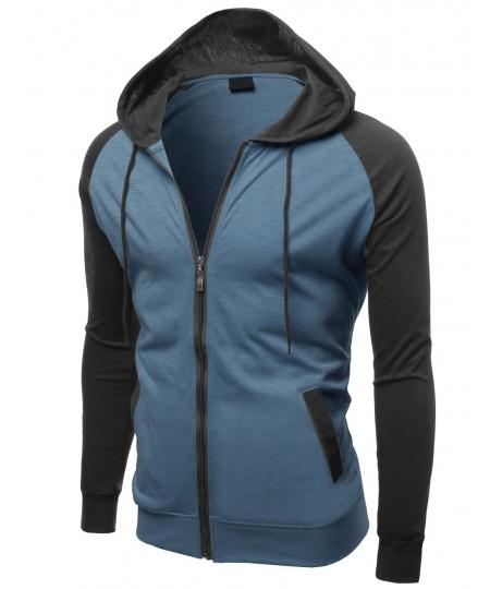Men's Raglan Color Contrast Zip Hooded Jackets