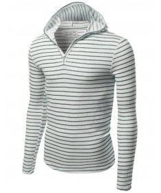 Men's Stripe Long Sleeve Button Hoodie Tops