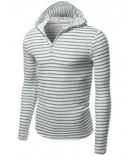 Men's Stripe Long Sleeve Button Hoodie Tops
