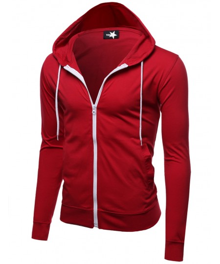 Men's Basic Solid Light Weight Hoodie Jackets