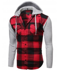 Men's Plaid Checkered Detachable Hoodie Color Contrast Flanel Shirt