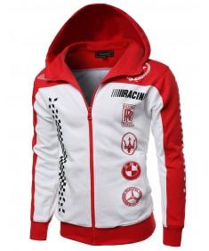 Men's Casual Racing Zip Up Longsleeve Hoodie Jacket