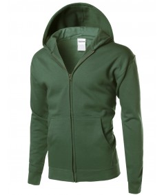 Men's Basic Solid Men's Mid-Weight Hood Zip Up Jacket