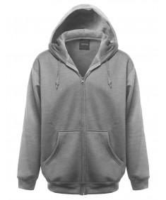 Men's Basic Solid Fleece Sweatshirt Hooded Zip Up Jacket
