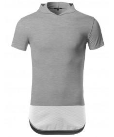 Men's Color Block Quilted Side Zippers Short Sleeves Hoodie