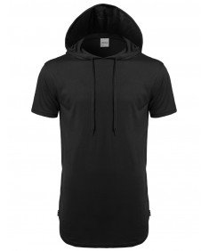 Men's Basic Solid Side Zippers Short Sleeves Drawstring Hoodie