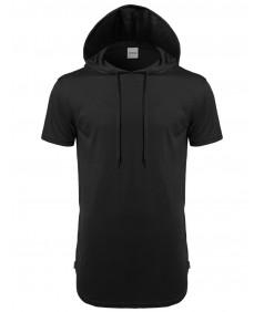 Men's Basic Solid Side Zippers Short Sleeves Drawstring Hoodie