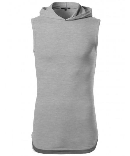 Men's Sleeveless High Low Curved Hem Side Zipper Hoodie