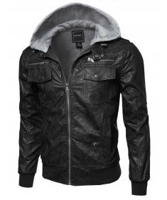 Men's Refined Faux-Leather Moto Jacke With Detachable Hood