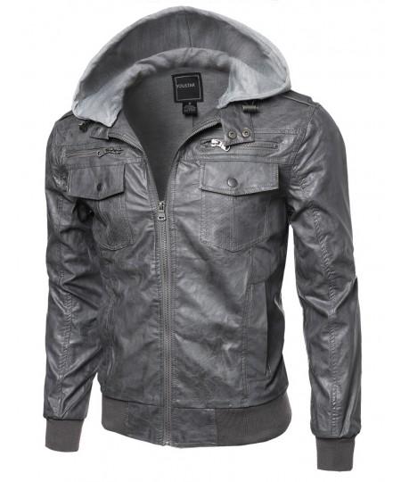 Men's Refined Faux-Leather Moto Jacke With Detachable Hood