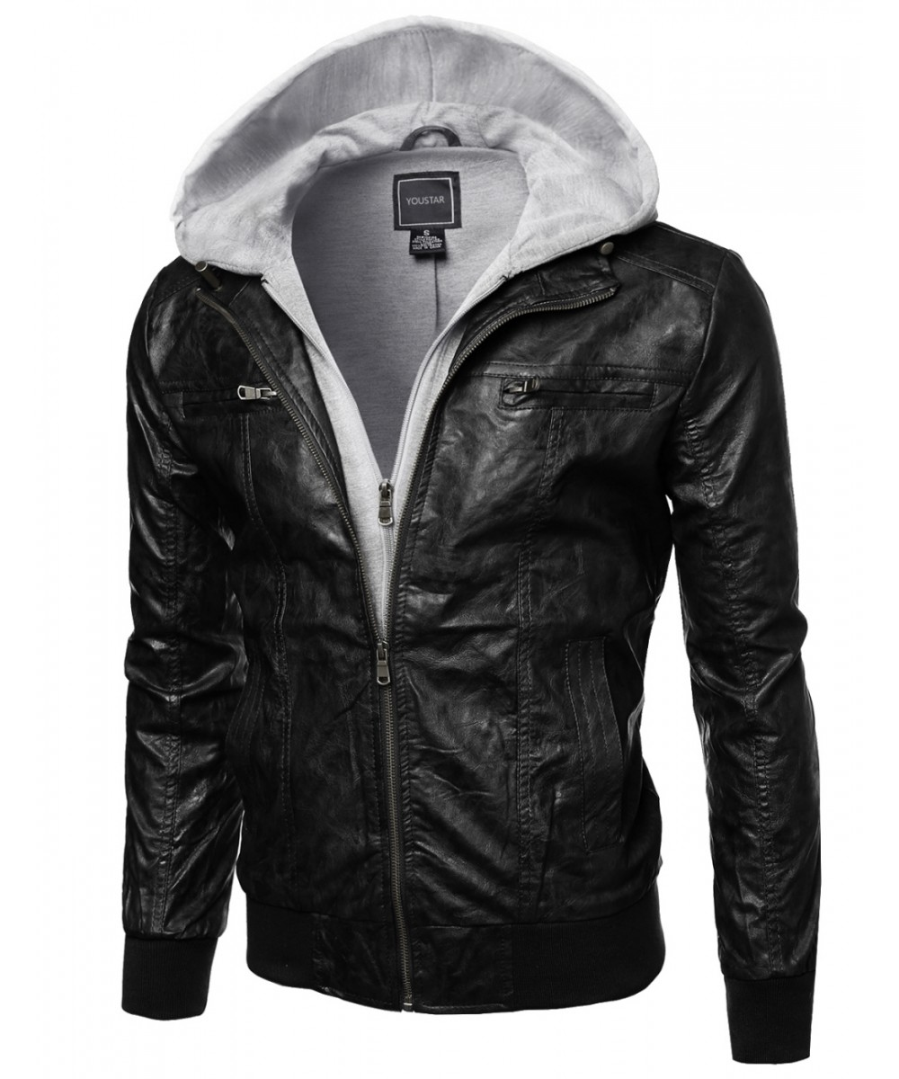 Refined faux-leather moto jacket with Fleece Hood Attached ...