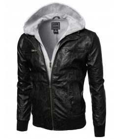Men's Refined Faux-Leather Moto Jacket With Fleece Hood Attached
