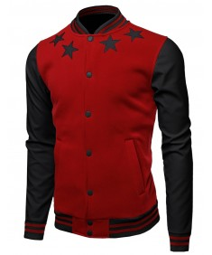 Men's Varsity Wool And Faux Leather Sleeve Contrast Stadium Jacket