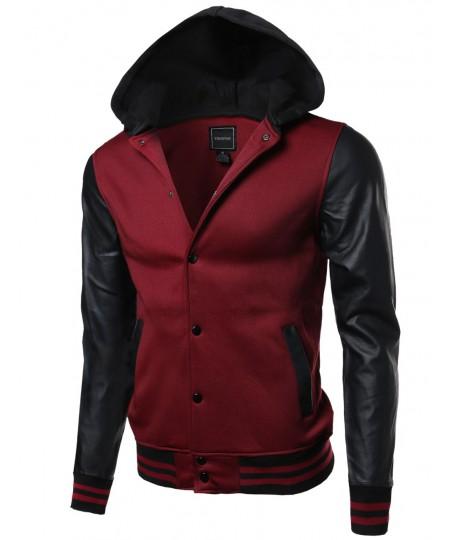 Men's Fine Quality Hood Detachable Faux Leather Contrast Stadium Jacket
