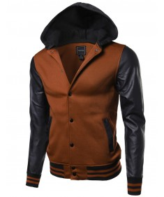 Men's Fine Quality Hood Detachable Faux Leather Contrast Stadium Jacket