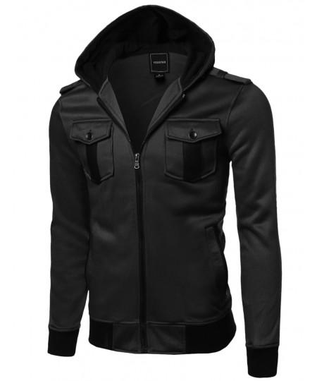 Men's Fine Quality Comfortable Fleece Hooded Jacket Coat