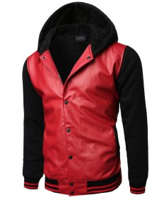 Men's Varsity Wool And Faux Leather Contrast Stadium Jacket