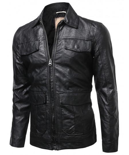 Men's Refined Faux Leather Padding Quilted Lining Jacket