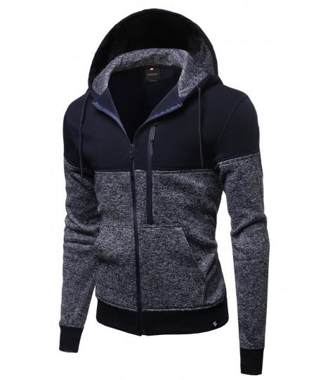 Men's Fine Quality Plush Fleece Lined Zip Up Hoodie Jacket