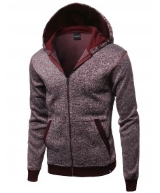 Men's Fine Quality Plush Fleece Lined Zip Up Hoodie Jacket