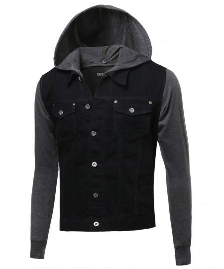 Men's Nicely Stone Washed Denim Contrast Detachable Hooded Jacket