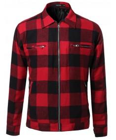 Men's Buffalo Zippered Plaid Jacket