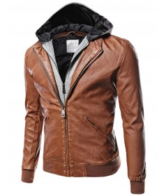 Men's Moto Racer Faux Leather Hooded Jackets