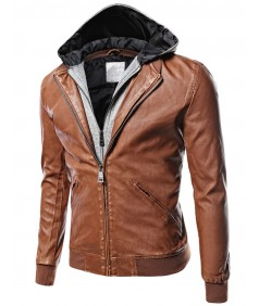 Men's Moto Racer Faux Leather Hooded Jackets