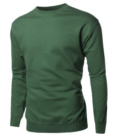Men's Basic Solid Men's Mid-Weight Crew Neck Sweatshirt