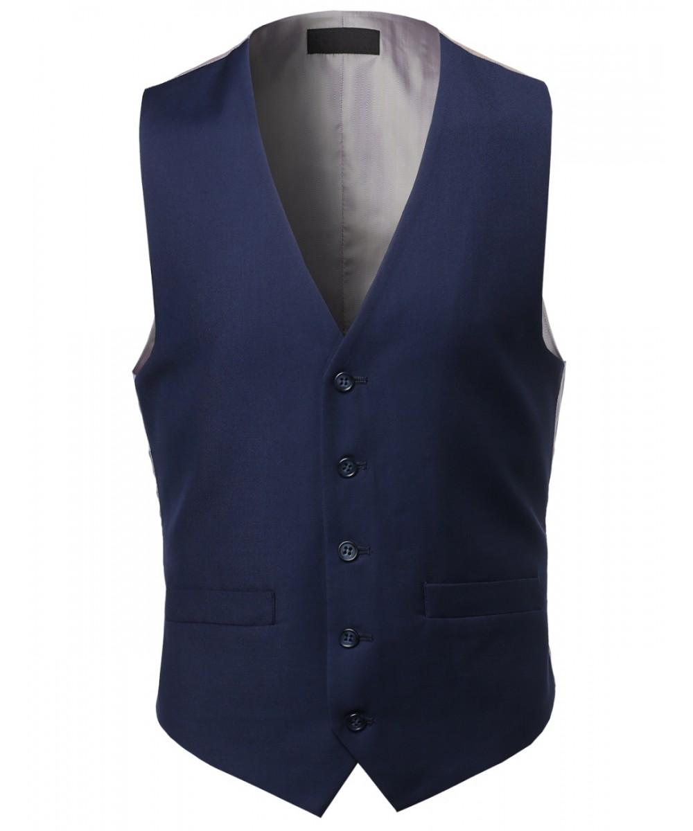 c495662266177 Men s Classic Fit Solid Wedding Suit Tuxido Dress Vest Waistcoat ...