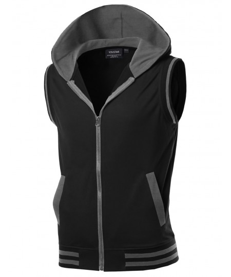 Men's Modern Color Block Sleeveless Zipper Closure Drawstring Hoodie