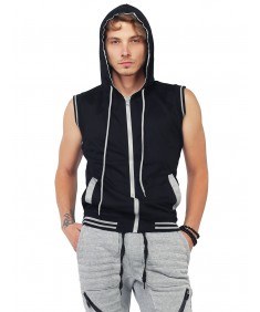 Men's Modern Color Block Sleeveless Zipper Closure Drawstring Hoodie