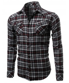 Men's Scotch Plaid Flannel Long Sleeve Button Down Shirt