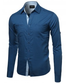 Men's Quality Casual Long Sleeve Denim Shirt2