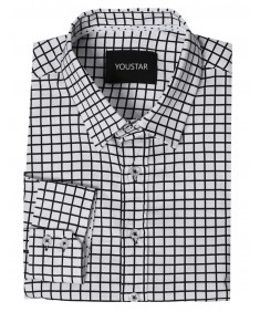 Men's Slim Checkered Button Down Shirt