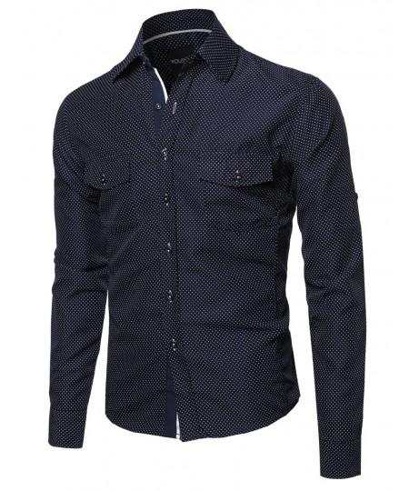 Men's Long Sleeve Patterned High Low Curved Hem Shirt