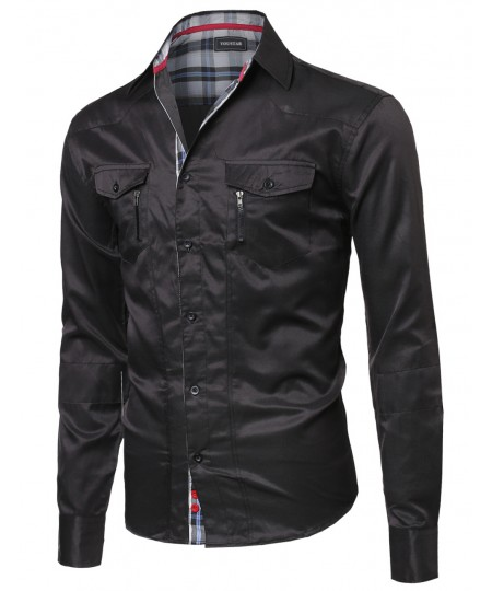 Men's Roll Up Long Sleeve Button Down Shirt