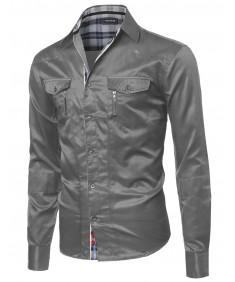 Men's Roll Up Long Sleeve Button Down Shirt