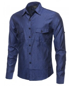 Men's Long Sleeve Patterned Button Down Shirt
