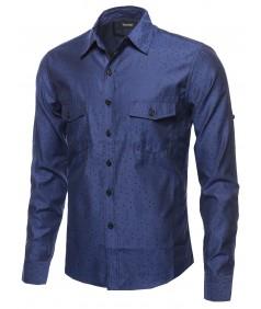 Men's Long Sleeve Patterned Button Down Shirt