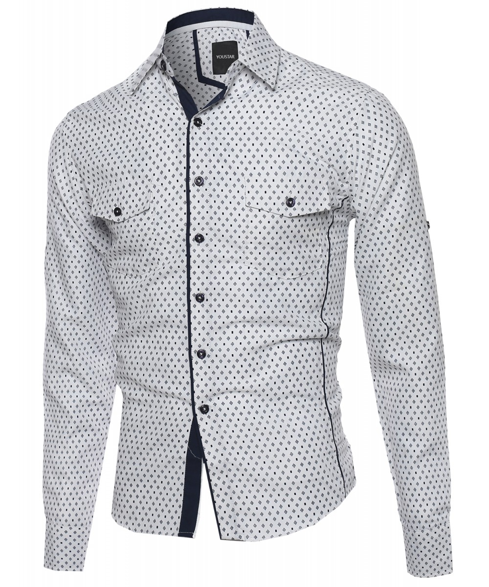 Men 39 s patterned printed long sleeve pockets button down for Custom pattern button down shirts