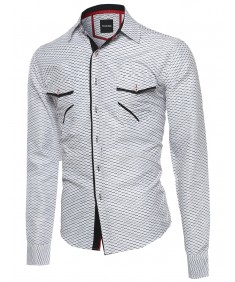 Men's Patterned Button Down Long Sleeve Shirt