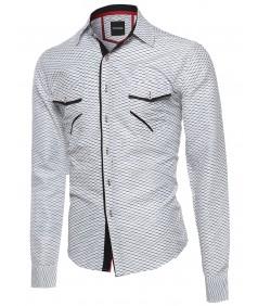 Men's Patterned Button Down Long Sleeve Shirt