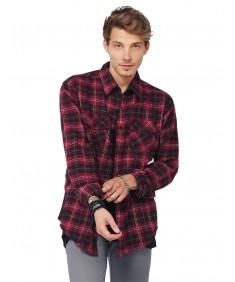 Men's Scotch Plaid Flannel Long Sleeve Button Down Shirt