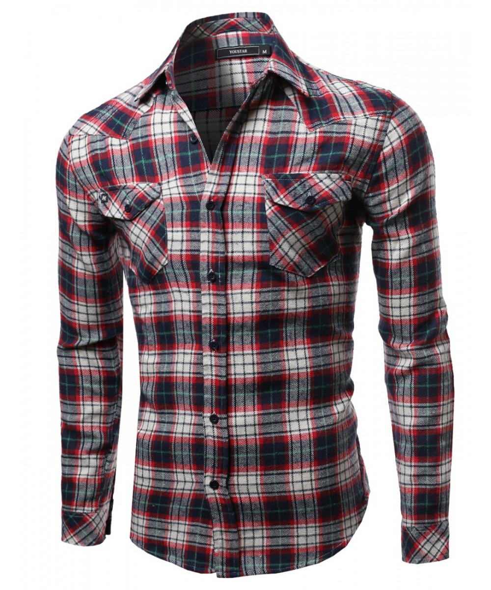 Scotch Plaid Flannel Long Sleeve Button Down Shirt - FashionOutfit.com
